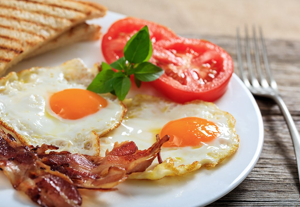 Fried eggs and bacon plate